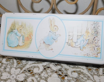 Beatrix Potter Tin Box, Beatrix Potter Tin Collection, Vintage Tin Box, Vintage Child's Room Decor, Storage