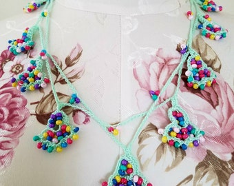 Mint Green Multi Colored Beaded Bells Boho Crochet Necklace Lariat