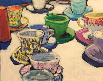 "Many Cups - Original Acrylic Oil Encaustic Still Life Painting - 14""x 14"""