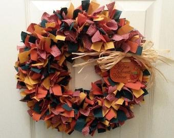 Fall Fabric Rag Wreath 15 inches Autumn Colors