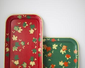 Vintage Maple Leaf Metal Trays, Set of 2