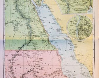 1869 antique map of the suez canal and egyptian railways large 1913 bacons antique map folding colour map north africa egypt suez gumiabroncs Image collections
