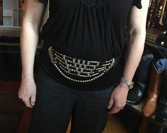 Vintage 90's Silver Brass and Black Cord Belt Adjustable