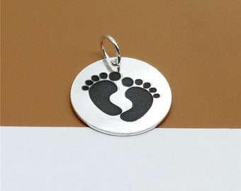 925 Sterling Silver New Born Baby Footprint Charm 17mm, Custom Disc Charm for Necklace Bracelet Key Chain - C68