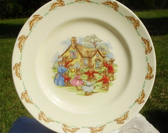 Royal Doulton Bunnykins Childs Plate, Bone China, Made in England