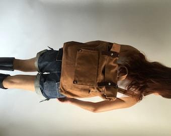 Brown cognac canvas backpack,leather strap travel backpack,Canvas Rucksack,Back to school laptop bag /Sale 25 % -no.105 ALLISON