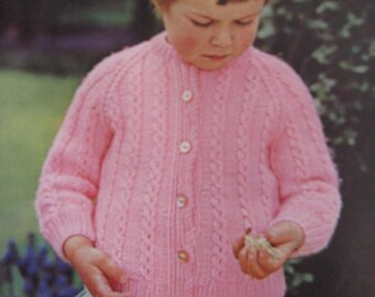 1960's Vintage Knit Pattern Children's Cardigan Sweater PDF Pattern 6281