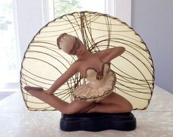 Ballerina TV Lamp, MCM Mid Century Modern, Puccini Art Novelty, Female Figural, Kitsch
