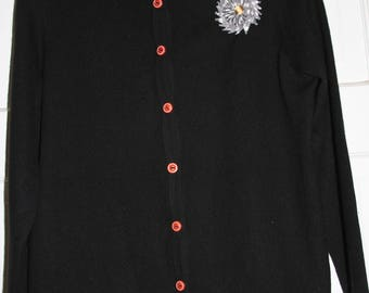 Black 100% Cashmere Cardigan w/ Vintage Silk Starburst Applique & Vintage Red Buttons sz M