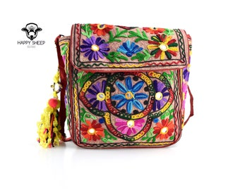 1970s Banjara Gypsy Hippie Boho Tassel Indian Pom pom Flower Mirror Tribal Colorful Messenger Shoulder Bohemian Embroiderd Style Patch Bag