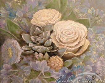"""Rose bouquet with blue flowers, original oil painting on canvas, 12"""" x 12"""" オリジナル油絵『バラと水色の花のブーケ』by Yoko Collin"""
