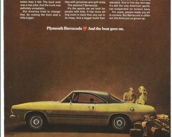1968 Advertisement Plymouth Barracuda 68 Cuda Green Family Sports Car Chrysler 60s Muscle Car Garage Shop Dealership Wall Art Decor