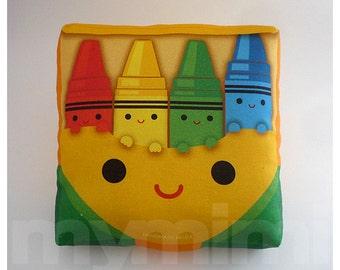 Toy Pillow, Crayons Pillow, Rainbow Pillow, Throw Pillow, Cushion, Kawaii, Room Decor, Nursery, Baby Shower, Gift Basket, Toys, 7 x 7