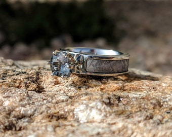 Authentic 6mm Wide Meteorite Engagement Ring with stunning Aquamarine Round Center -COB-6F14G1Prin-Meteorite-Aquamarine