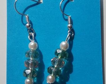 Green and pearl glass earrings