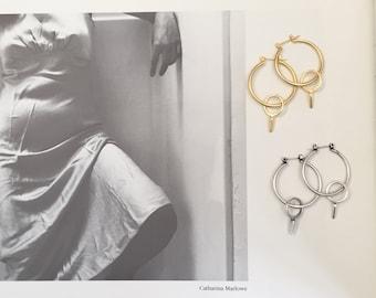 Double hoop earrings , gold or silver plated gypsy hoop earrings , double circle modern minimalist earrings