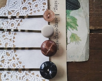 Button Bobby Pin Set, Hair Pins Made From Vintage Buttons, Boho Hair Accessories, Gifts For Her