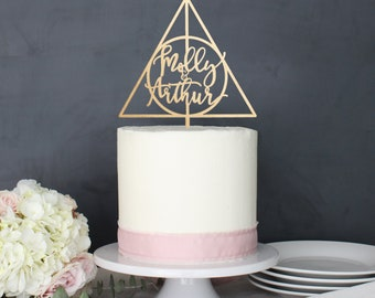 Personalized Modern Deathly Hallows Harry Potter Inspired Wedding Cake Topper | Custom Name