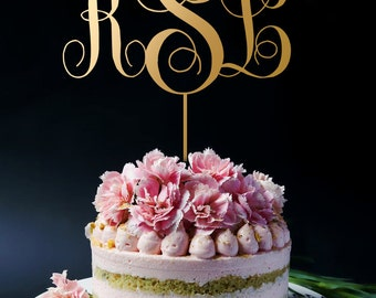 Gold Monogram Cake Topper, Gold Cake Topper, Personalized Monogram Cake Topper, Custom Initials A2011