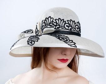 Kentucky derby hat, Ascot widebrim hat, race season hat, Royal ascot, White black hat, wide lace hat, elegant hat, Church hat, Easter hat
