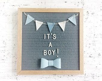 Mini Felt Banner and Bow Tie for Your Letter Board - For Special Birth Announcements, Gender Reveal, Milestone Photos