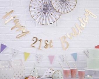 Gold Happy 21st Birthday Bunting 21st Birthday Party Decorations 21st Birthday Banner 21st  sc 1 st  Etsy & 21st birthday decor | Etsy
