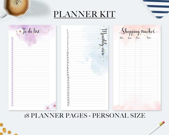 spesso Kit agenda personal vista mensile refill acquerello lista NW02