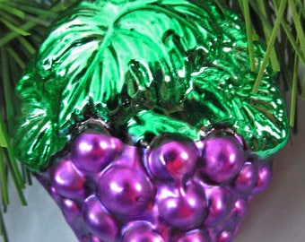 Glass 617 Ornament Grapes Purple & Leaves Inge Glas W Germany Vintage Excellent!