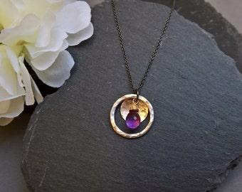 Amethyst pendant necklace, Amethyst necklace, Silver circle pendant necklace, gold pendant necklace, Amethyst jewelry, February birthstone