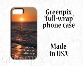 Cape May sunrise cell phone case, Bible verse Let There Be Light, inspirational religious quote, iPhone X iPhone 8 iPhone 7 iPhone 6 6S Plus