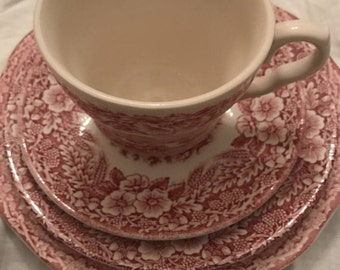 Pink and White China. Mix and Match Teacup set.