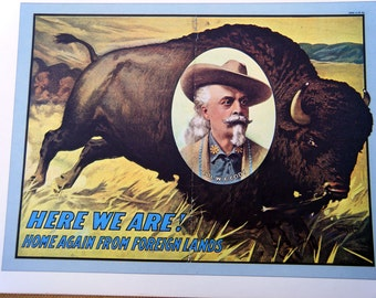Buffalo Bill Cody / Buffalo Bills Wild West Rough Riders Vintage Circus Poster -  Vintage Book Plate