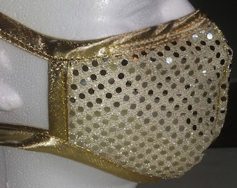 Michael Jackson Inspired Gold Sequin Face Mask