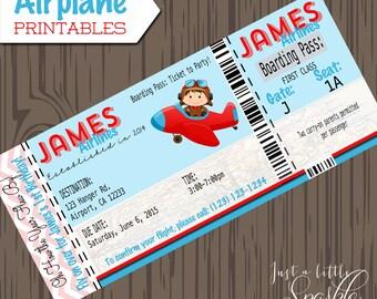 Pilot Invitations cards-DIY, lil pilots, airplane birthday, airplane invitation, invites, Boarding Pass Invitations