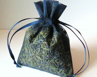 LAVENDER sachets 6 Pack organic Lavendar in 3x4 NAVY BLUE color organza bags aromatherapy