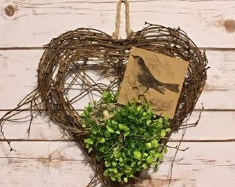 Farmhouse Wall Pocket,Vine Wall Heart,Farmhouse Decor,Grapevine Heart,Primitive Decor,Rustic Decor