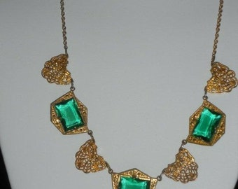 1930's Gold-toned Brass Filligree Necklace