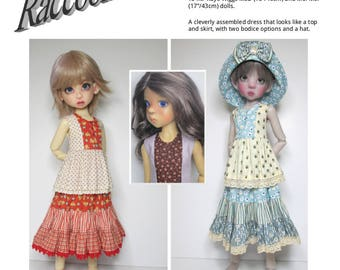 """PDF digital Sewing Pattern SSP-057: """"Clever Miss"""" for Kaye Wiggs MSD (18"""") and Mei Mei (17"""")  Tunic-and-skirt dress, with hat."""