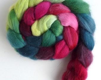 Corriedale Wool Roving - Hand Painted Spinning or Felting Fiber, Coleus