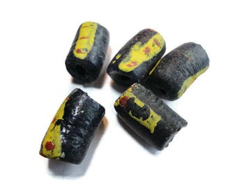 5 African glass beads