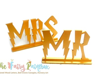 Wizard Sweetheart Table Mr Mrs Signs - Bride Groom MR MRS Wedding Centerpiece - Gryffindor Wedding Table Signs - Standing Letters - Set of 2