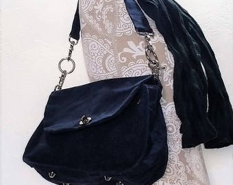 Gift for Her Waxed Canvas Retro Inspired Shoulder Bag Shown in Navy