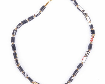 Altair necklace/ gold and black