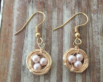 Gold Bird's Nest Earrings