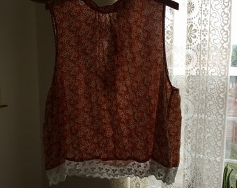 70s Floral Printed Lace Tank