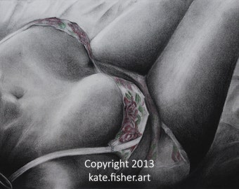 "Limited Edition Fine Art Charcoal Drawing Prints - ""Boudoir 2"""