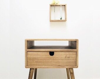 100% Solid Wood, Bedside Table, Nightstand, Side Table, Mid Century Design