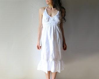 Indian Cotton Sun Dress // White Gauze Halter Style // S-M