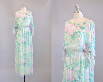 70s Dress // 1970s Sheer Silk Chiffon Floral Maxi w/ Slip // S-M
