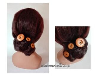 bun wooden wood button, wedding Hat women, hair stick hair pin, wedding hat